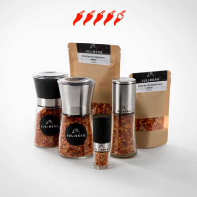 Birds Eye Bio Chiliflocken - Chili2Go-, Design-, Black- & Steel Premium Mühlen, Nachfüllpackungen Medium & XL