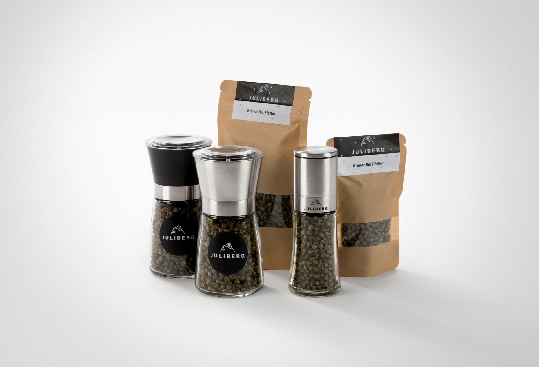 Grüner Bio Pfeffer - Design-, Black- & Steel Premium Mühlen, Nachfüllpackungen Medium & XL