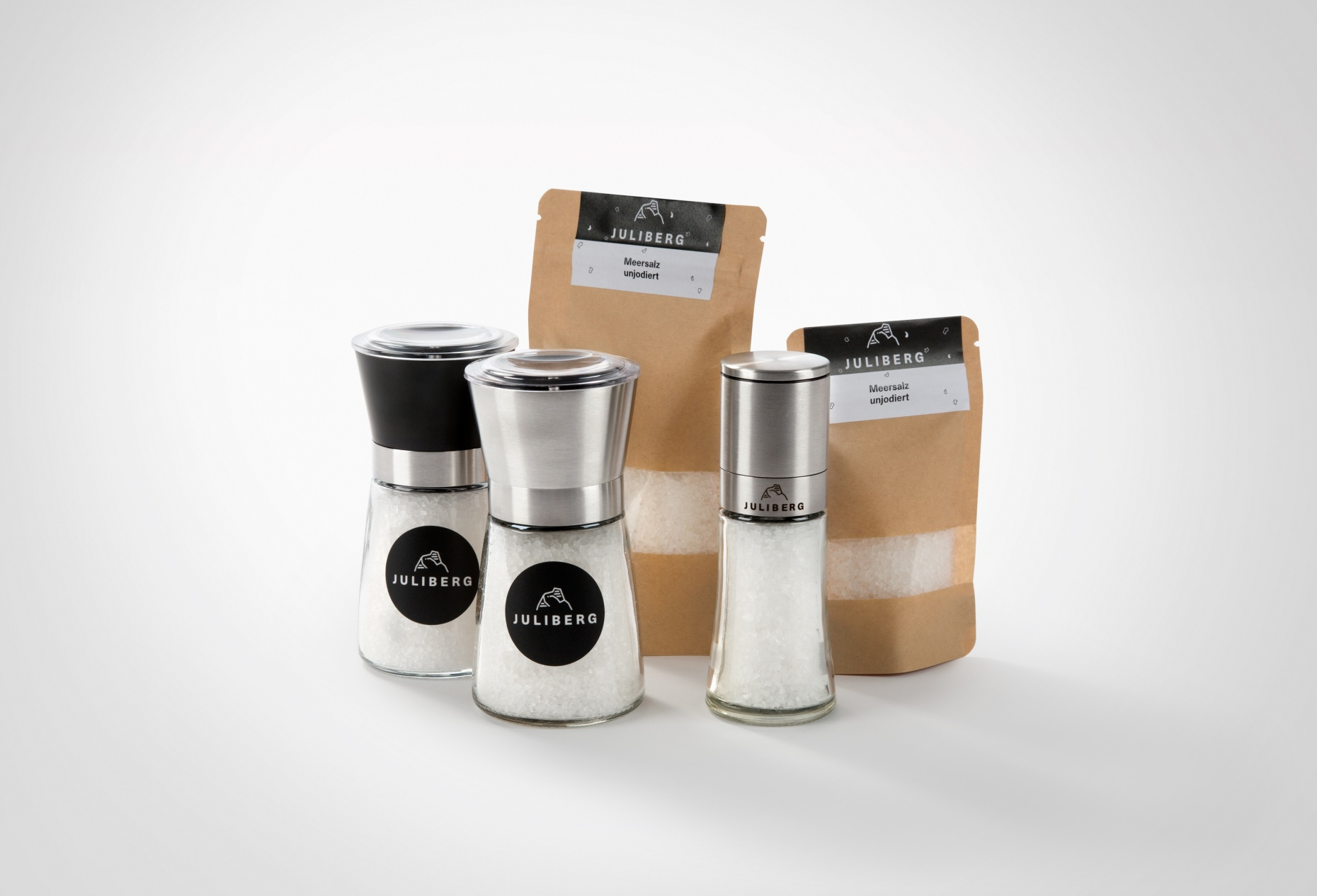 Meersalz Natur unjodiert - Design-, Black- & Steel Premium Mühlen, Nachfüllpackungen Medium & XL