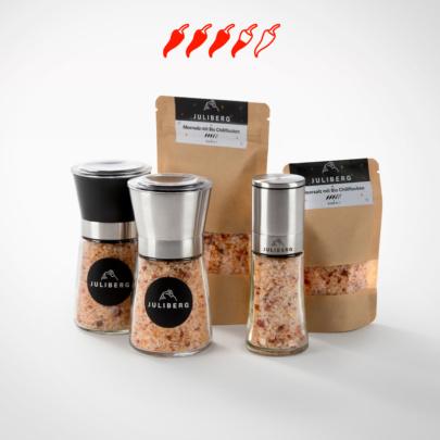 Meersalz mit Bio Chiliflocken 7 - Chili2Go-, Design-, Black- & Steel Premium Mühlen, Nachfüllpackungen Medium & XL