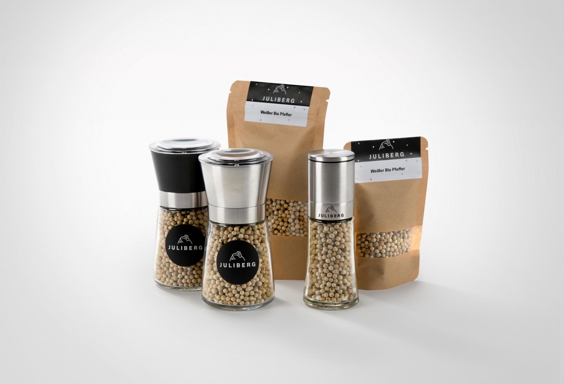 Weißer Bio Pfeffer - Design-, Black- & Steel Premium Mühlen, Nachfüllpackungen Medium & XL