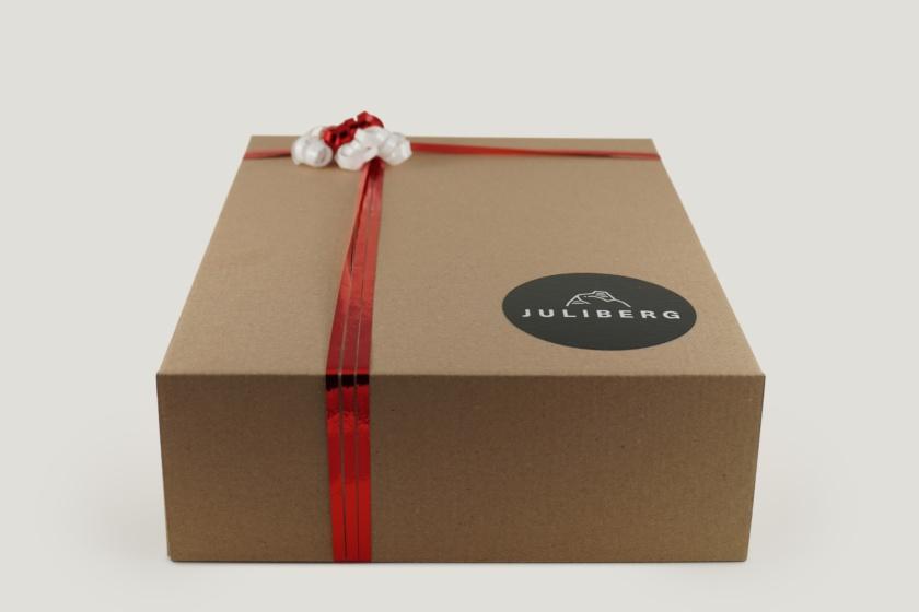 Geschenkverpackung Karton Premium mit Schleifenband und Stern