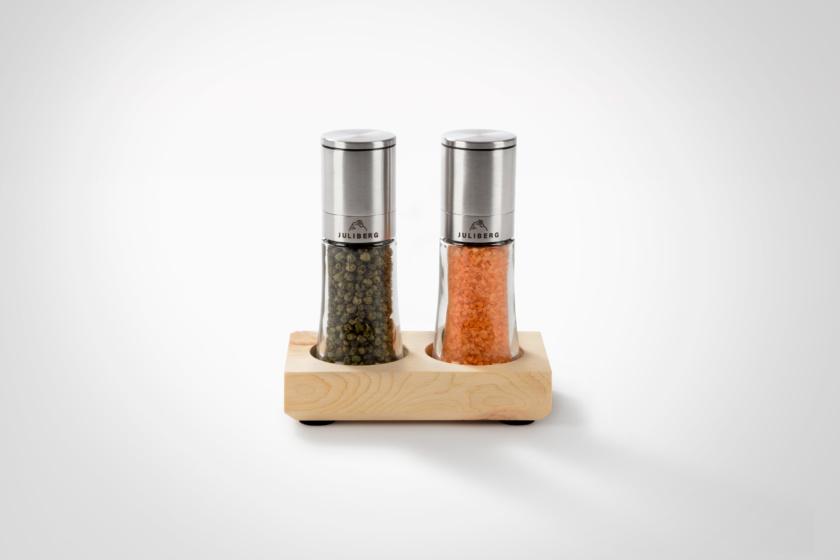 JULIBERG - Geschenkset Duo 2 - Design Premium Mühlen - Grüner Bio Pfeffer und Meersalz mit Bio Chili 2