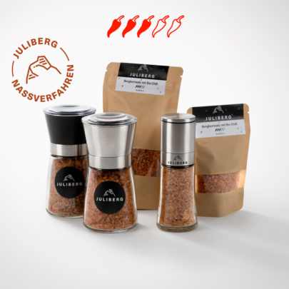 Bergkernsalz mit Bio Chili 6 - Design-, Black- & Steel Premium Mühlen, Nachfüllpackungen Medium & XL