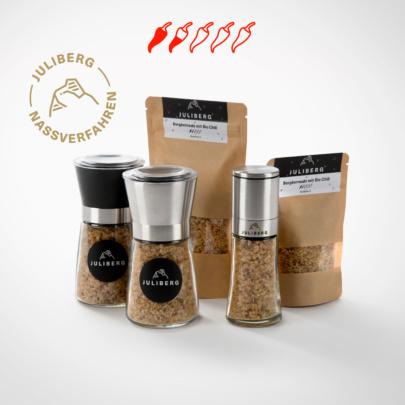 Bergkernsalz mit Bio Chili 3 - Design-, Black- und Steel Premium Mühlen, Nachfüllpackungen Medium und XL
